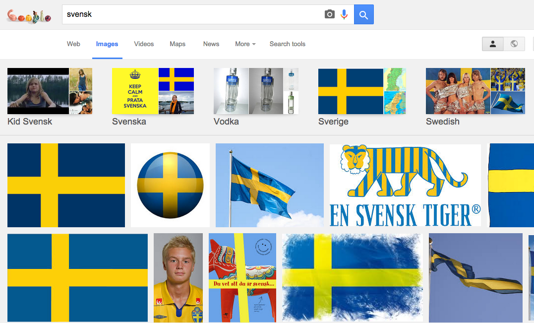 """Sökning på """"svensk"""" på Google."""