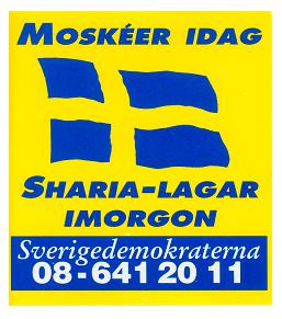 Bild på en gammal Sverigedemokratisk dekal som uttrycker idén om kulturkrig.