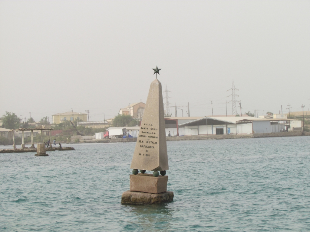 "The remaining italian monument in the sea of the Port of Massawa "" ALA D'ITALIA INFRANTA"" (""The broken wing of Italy"") from 1934 in Massawa. Photo: Soroor Notash. February 2019"