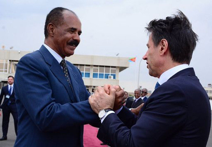 Italy's prime minister visiting Eritrea and shaking hands with Isaias Afwerki in Asmara, 2018. https://www.meltingpot.org/Nuovi-imperialismi-in-Eritrea-Gli-interessi-economici-nell.html