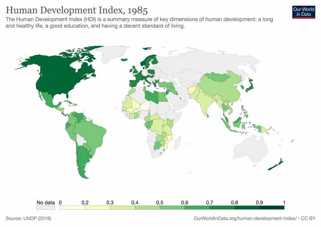 Human development index in 2017. Based on data from UNDP. www.OurWorldInData.org/human-development-index