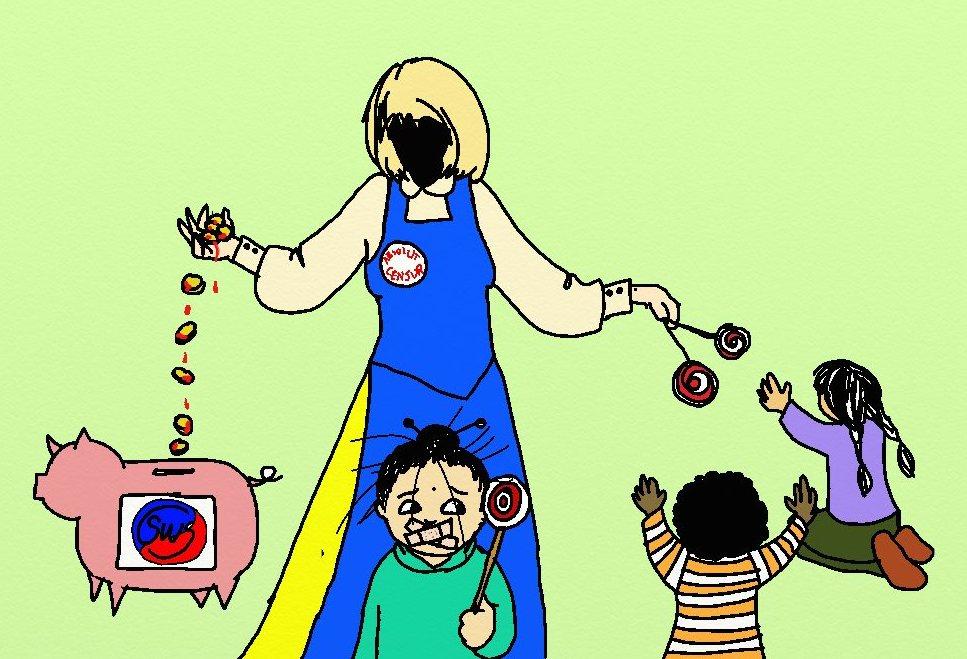En figur utan ansikte i blont hår och sverigedräkt, med en knapp med texten Absolut Censur, håller en hög blodiga pengar i ena handen. De rinner ner i en sparbössa med en koreansk Taegeuk-symbol och texten SWS. Med andra handen ger figuren slickepinnar till två barn som rasifieras som annat än vita. Ett barn till står i förgrunden och håller i en slickepinne. Hennes mun är övertejpad med två korslagda plåster. Hon tittar mot de andra barnen.